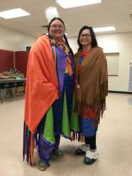 Tori and Launa at South Broadview teaching traditional dance